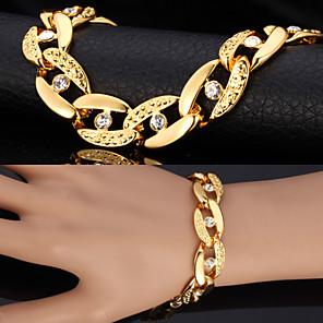 cheap Men's Bracelets-Men's Synthetic Diamond Chain Bracelet Vintage Bracelet Figaro Chunky Solitaire Statement Ladies Personalized Fashion Dubai Rhinestone Bracelet Jewelry Silver / Golden For Christmas Gifts Wedding