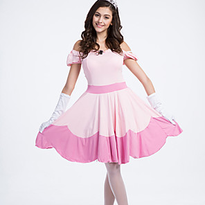 cheap Movie & TV Theme Costumes-Princess Princess Peach Dress Cosplay Costume Women's Halloween Carnival Festival / Holiday Spandex Lycra Terylene Pink Women's Carnival Costumes / Gloves / Headwear / Gloves / Headwear