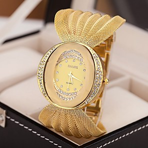 cheap Women's Boots-Women's Luxury Watches Bracelet Watch Diamond Watch Quartz Silver / Brown / Gold Imitation Diamond Analog Ladies Sparkle Fashion Dress Watch - Silver Golden