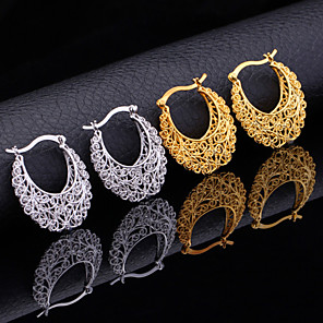cheap Jewelry Sets-Women's Hoop Earrings Earrings Hollow Out Flower Ladies Vintage Party Work Casual Carved Earrings Jewelry Gold / Silver For Party Anniversary Birthday Gift