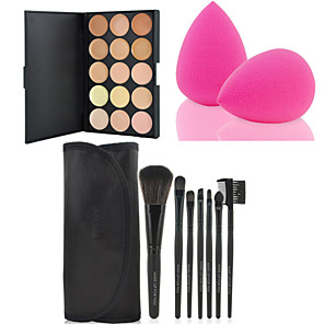 cheap Makeup Brush Sets-hot-sale-7pcs-set-black-soft-kit-makeup-brush-tool-15-colors-contour-face-cream-makeup-concealer-palette-powder-puff