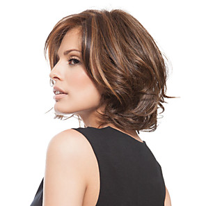 cheap Synthetic Trendy Wigs-Synthetic Wig Wavy Wavy Bob Layered Haircut Side Part Wig Short Blonde Brown Synthetic Hair Women's Fashion With Bangs Brown StrongBeauty