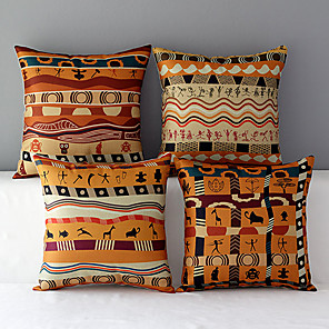 cheap Pillow Covers-4 pcs Cotton / Linen Pillow Cover, Novelty Modern Contemporary