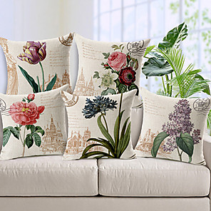 cheap Cushion Covers-Set of 5 Cotton / Linen Pillow Cover, Floral Country Throw Pillow
