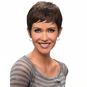 cheap Synthetic Trendy Wigs-Synthetic Wig Wavy Wavy Bob Pixie Cut With Bangs Wig Short Natural Black Synthetic Hair Women's With Bangs Black