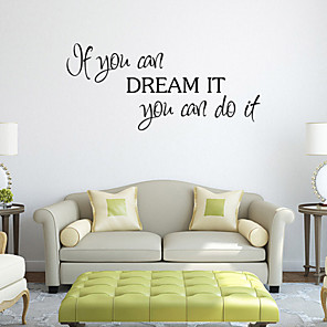 cheap Wall Stickers-Cartoon / Words & Quotes Wall Stickers Words & Quotes Wall Stickers Decorative Wall Stickers, PVC(PolyVinyl Chloride) Home Decoration Wall Decal Wall Decoration / Washable / Removable