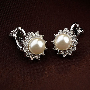 cheap Earrings-Women's Clip on Earring Earrings Flower Ladies Vintage Party Cute Pearl Rhinestone Earrings Jewelry White / Black For Wedding Daily Masquerade Engagement Party Prom