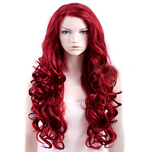 cheap Costume Wigs-Synthetic Wig Curly Side Part Wig Long Red Synthetic Hair Women's High Quality Red