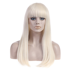 cheap Synthetic Trendy Wigs-Synthetic Wig Straight Straight With Bangs Wig Blonde Long Light Blonde Synthetic Hair Women's With Bangs Blonde StrongBeauty