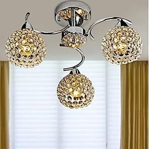 cheap Wallpaper-3-Light 40CM Crystal / LED Chandelier Metal Chrome Modern Contemporary 110-120V / 220-240V / E12 / E14