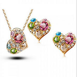 cheap Jewelry Sets-Crystal Jewelry Set Stud Earrings Pendant Necklace Heart Love Ladies Party Work Fashion Cubic Zirconia Rhinestone Austria Crystal Earrings Jewelry Gold For Wedding Party Special Occasion Anniversary