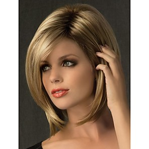 cheap Synthetic Trendy Wigs-Synthetic Wig Straight Straight With Bangs Wig Blonde Short Synthetic Hair Women's Dark Roots Side Part Blonde StrongBeauty