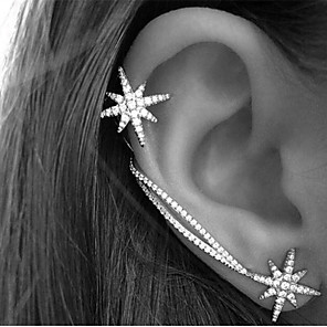 cheap Hair Jewelry-Women's Crystal Ear Cuff Earrings Ear Climbers Star North Star Ladies Vintage Party Work Casual Simple Style Rhinestone Earrings Jewelry Screen Color For Daily