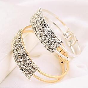 cheap Jewelry Sets-Women's Bracelet Bangles Tennis Bracelet Ladies Casual Fashion Rhinestone Bracelet Jewelry Gold / Silver For Daily