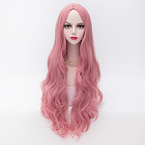 cheap Synthetic Trendy Wigs-Cosplay Costume Wig Synthetic Wig Wavy Loose Wave Kardashian Loose Wave Wig Pink Very Long Pink Synthetic Hair Women's Middle Part Pink