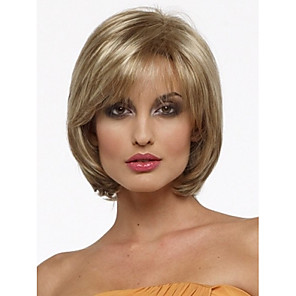 cheap Synthetic Trendy Wigs-Synthetic Wig Straight Straight Bob With Bangs Wig Blonde Short Blonde Synthetic Hair Women's Side Part Blonde StrongBeauty