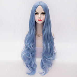 cheap Synthetic Trendy Wigs-Synthetic Wig Wavy Loose Wave Loose Wave Wig Very Long Synthetic Hair Women's Middle Part Blue
