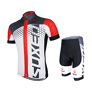 cheap Triathlon Clothing-Arsuxeo Men's Women's Short Sleeve Cycling Jersey with Shorts Polyester Elastane White+Red Bule / Black Black / Green Gradient Bike Shorts Jersey Clothing Suit Breathable Quick Dry Anatomic Design