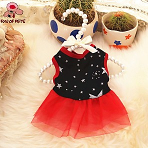 cheap Dog Clothes-Cat Dog Dress Dog Clothes Black Costume Terylene Stars Casual / Daily XS S M L