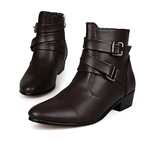 cheap Men's Boots-Men's Comfort Shoes Fall / Winter Vintage / British Party & Evening Outdoor Office & Career Boots Walking Shoes Microfiber Height-increasing 10.16-15.24 cm / Booties / Ankle Boots White / Black