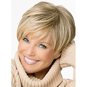 cheap Synthetic Trendy Wigs-Synthetic Wig Straight Straight Pixie Cut With Bangs Wig Blonde Short Light Brown Synthetic Hair Women's Side Part Blonde StrongBeauty
