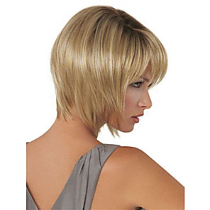 cheap Synthetic Trendy Wigs-Synthetic Wig Straight Straight Bob With Bangs Wig Blonde Short Long Blonde Synthetic Hair Women's Blonde StrongBeauty