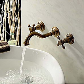 cheap Bathroom Sink Faucets-Bathroom Sink Faucet - Widespread Antique Copper Retro Wall Mounted Three Holes / Two Handles Three HolesBath Taps