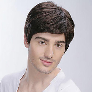 cheap Synthetic Trendy Wigs-Synthetic Wig Straight Straight With Bangs Wig Short Black Synthetic Hair Men's Side Part Brown