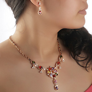 cheap Jewelry Sets-Jewelry Set Vintage Party Work Elegant Colorful Gold Plated Earrings Jewelry Screen Color For Party