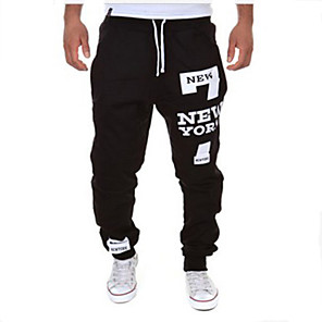 cheap Men's Sneakers-Men's Sporty / Active Sports Weekend Loose wfh Sweatpants Pants - Letter Black / Red Dark Gray Light gray XL XXL XXXL / Drawstring