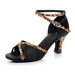 cheap Latin Shoes-Women's Dance Shoes Satin Latin Shoes / Salsa Shoes Buckle Sandal Customized Heel Customizable Brown / Blue / Fuchsia / Leather / EU38