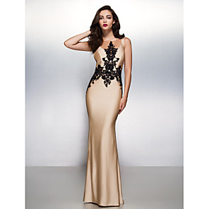 cheap Evening Dresses-Mermaid / Trumpet Elegant Beautiful Back Engagement Formal Evening Dress Illusion Neck Sleeveless Sweep / Brush Train Jersey with Appliques 2020
