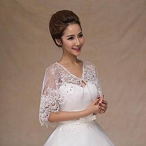 cheap Wedding Slips-Sleeveless Capelets Lace Wedding / Party Evening / Casual Wedding  Wraps With Rhinestone