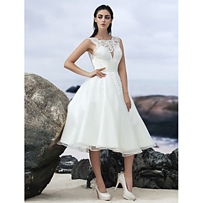 cheap Wedding Party Dresses-A-Line Wedding Dresses Bateau Neck Knee Length Organza Regular Straps Formal Casual Little White Dress Illusion Detail Backless with Lace Insert 2020