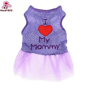cheap Dog Clothes-Cat Dog Dress Letter & Number Casual / Daily Fashion Dog Clothes Black Purple Costume Cotton XS S M L