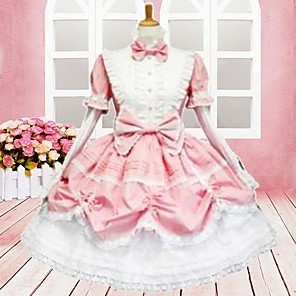 cheap Lolita Dresses-Dress Sweet Lolita Dress Women's Lolita Accessories Cotton Halloween Costumes / Medium Length