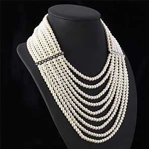 cheap Necklaces-Women's Pearl Statement Necklace Long Necklace Layered Ladies Luxury Elegant Multi Layer Pearl White Necklace Jewelry For Wedding Party Anniversary Congratulations Cosplay Costumes / Pearl Necklace