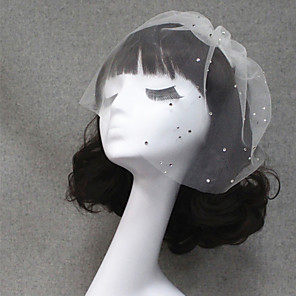 cheap Wedding Veils-One-tier Cut Edge Wedding Veil Blusher Veils / Veils for Short Hair with Rhinestone Tulle / Birdcage