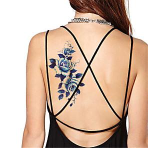 cheap Tattoo Stickers-5pcs set waterproof blue peony temporary tattoo sticker flash tattoos