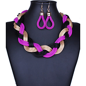 cheap Jewelry Sets-Jewelry Set Hoop Earrings Braided Twisted Chinese Knot Ladies Vintage Party Work Casual Bohemian Earrings Jewelry Purple For Party Special Occasion Anniversary Birthday Gift 1 set / Necklace