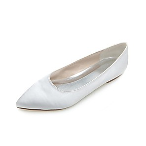cheap Wedding Shoes-Women's Flat Heel Satin Spring / Summer White / Silver / Wedding / Party & Evening / EU40