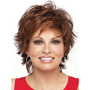 cheap Synthetic Trendy Wigs-natural light brown straight short wig for woman fashion wigs