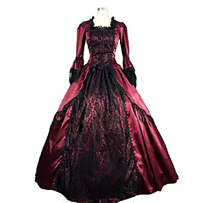 cheap Historical & Vintage Costumes-Victorian Medieval 18th Century Dress Party Costume Masquerade Women's Lace Satin Costume Fuchsia Vintage Cosplay Party Prom Long Sleeve Long Length Ball Gown Plus Size Customized