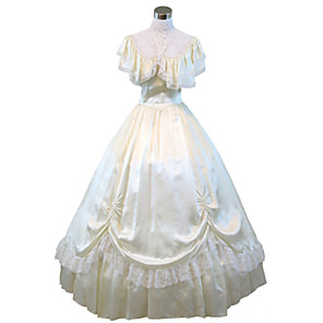cheap Historical & Vintage Costumes-Victorian Medieval 18th Century Dress Party Costume Masquerade Women's Lace Satin Costume Vintage Cosplay Short Sleeve Floor Length Long Length Ball Gown