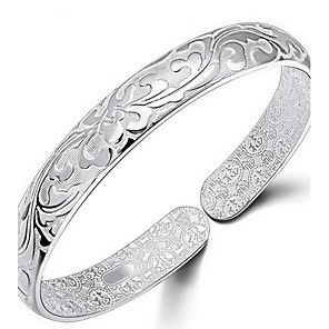 cheap Bracelets-Women's Bracelet Bangles Flower Ladies Italian everyday Sterling Silver Bracelet Jewelry Silver For Daily Casual Sports