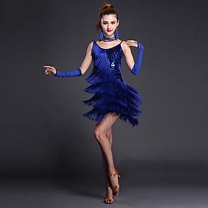 cheap Latin Dancewear-Latin Dance Dress Sequin Tassel Tier Women's Performance Short Sleeves Sleeveless High Lycra Polyester / Sexy Global Gals