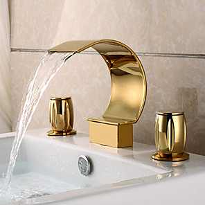cheap Bathroom Sink Faucets-Bathroom Sink Faucet Gold - Waterfall Ti-PVD Widespread Three Holes / Two Handles Three HolesBath Taps / Brass