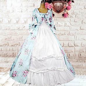 cheap Historical & Vintage Costumes-Lolita Dress Women's Cotton Japanese Cosplay Costumes Light Blue Floral Print Long Sleeve Medium Length