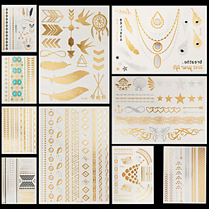 cheap Tattoo Stickers-10 pcs Temporary Tattoos Waterproof / Non Toxic / Halloween Hand / brachium Paper Metallic Tattoo / Pattern / Lower Back