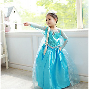 cheap Movie & TV Theme Costumes-Princess Fairytale Elsa Dress Cosplay Costume Party Costume Flower Girl Dress Kid's Girls' A-Line Slip Christmas Halloween Children's Day Festival / Holiday Chiffon Terylene Blue Carnival Costumes
